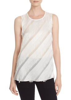 Tracy Reese Bias Fringe & Satin Stripe Shell