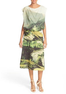 Tracy Reese Draped Print Stretch Silk Dress
