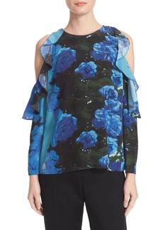 Tracy Reese Floral Print Flounced Blouse