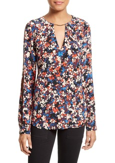 Tracy Reese Floral Print Silk Cold-Shoulder Blouse