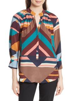 Tracy Reese Geometric Print Silk Peasant Blouse