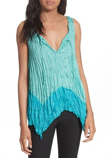 Tracy Reese Handkerchief Hem Crinkle Silk Top