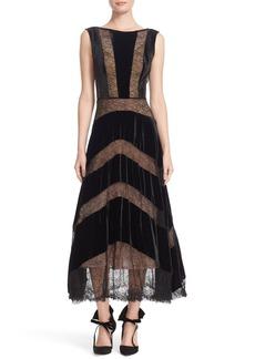 Tracy Reese Lace & Velvet Combo Midi Dress