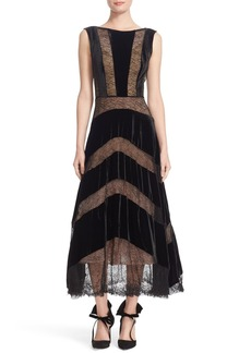 Tracy Reese Lace & Velvet Combo Midi Dress