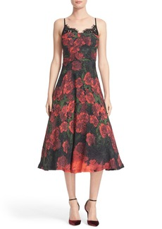 Tracy Reese Lace Trim Flared Slipdress