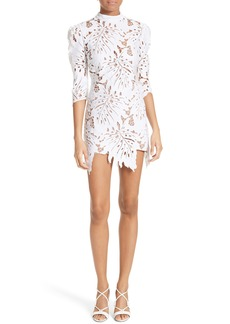 Tracy Reese Leaf Lace Puff Sleeve Minidress