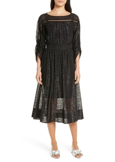 Tracy Reese Long Sleeve Metallic Dot Midi Dress