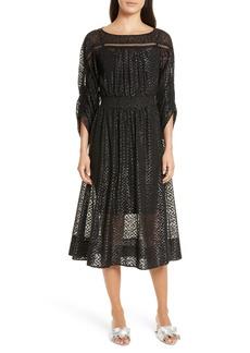 Tracy Reese Long Sleeve Metallic Dot Midi Dress