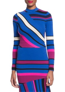 Tracy Reese Multi-Stripe Crop Knit Top