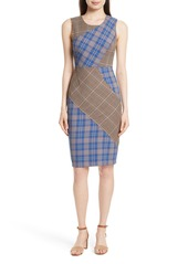 Tracy Reese Patchwork Plaid Sheath Dress