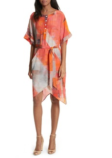 Tracy Reese Print Henley Silk Dress