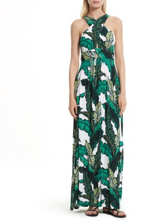 Tracy Reese Print Jersey Crisscross Maxi Dress