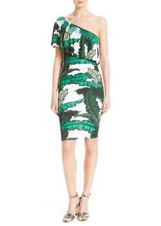 Tracy Reese Print Jersey One-Shoulder Flounce Dress