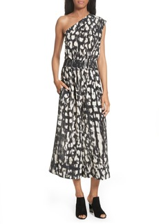 Tracy Reese Print One-Shoulder Silk Jumpsuit