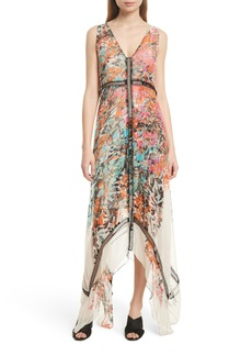 Tracy Reese Print Silk Handkerchief Hem Maxi Dress