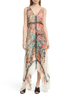 Tracy Reese Print Silk Handkerchief Hem Maxi Dress