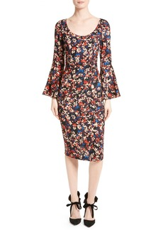 Tracy Reese Print Stretch Silk Bell Sleeve Dress