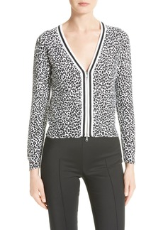 Tracy Reese Print Tipped Cotton Cardigan