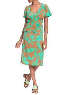 Tracy Reese Printed Half-Peplum Midi Dress