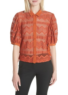 Tracy Reese Puff Sleeve Lace Blouse