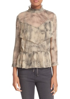 Tracy Reese Ruffle Trim Print Silk Blouse
