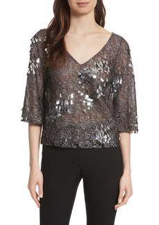 Tracy Reese Sequin & Lace Crop Top