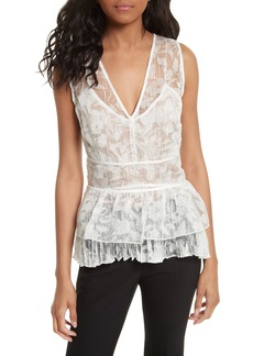 Tracy Reese Sheer Silk Overlay Shell