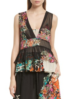 Tracy Reese Sheer Silk Peplum Shell
