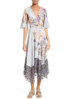 Tracy Reese Silk Mixed Media Midi Dress