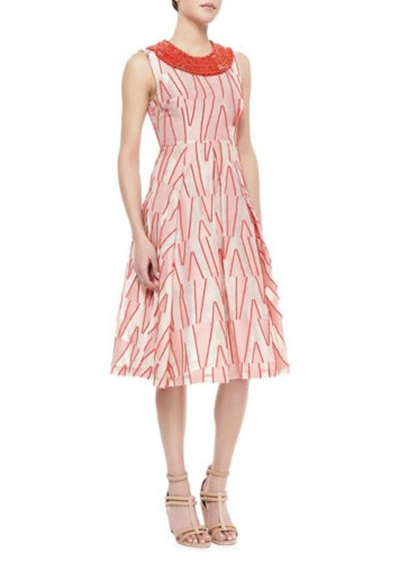 Tracy Reese Sleeveless Beaded Neck Dress, Scarlet/Ivory