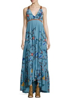 Tracy Reese Sleeveless Tiered Botanical-Print Maxi Dress