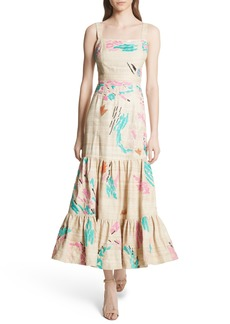 Tracy Reese Tiered Silk Embroidered Maxi Dress