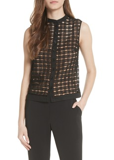 Tracy Reese Windowpane Cutwork Sleeveless Blouse