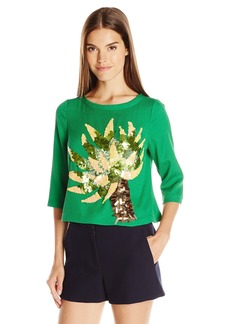 Tracy Reese Women's 3/4 Sleeve Embellished Blouse