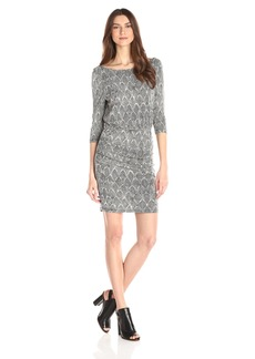 Tracy Reese Women's Abstract Print Jersey Dress Black/Putty scallops
