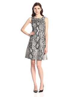 Tracy Reese Women's Animal Print Ponte Fit and Flare Dress