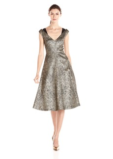 Tracy Reese Women's Antique Gold Stretch Lame Fit and Flare Frock Dress