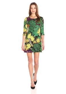 Tracy Reese Women's Floral Jacquard 3/4 Sleeve Mini Dress