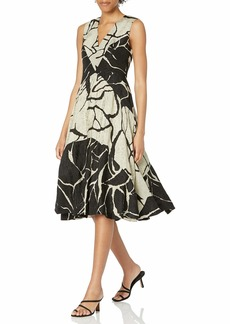 Tracy Reese Women's Floral Jacquard Fit and Flare Dress