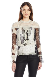 Tracy Reese Women's Flounce Victorian Blouse  L