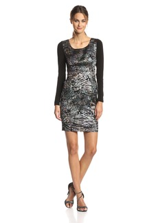 6304cfa513206 Tracy Reese Women's Jacquard Long-Sleeve Contrast Dress
