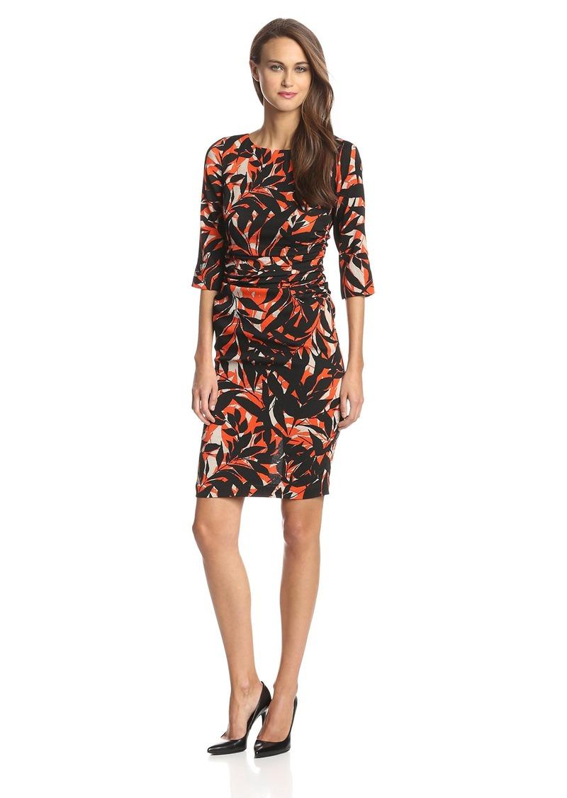 Tracy Reese Women's Shadow Leaf Crepe 3/4 Sleeve Dress Scarf