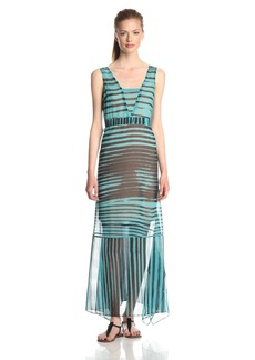 Tracy Reese Women's Stripe Print Handkerchief Hem Maxi Dress
