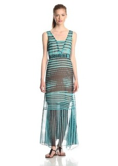 Tracy Reese Women's Stripe Print Handkerchief Hem Maxi Dress