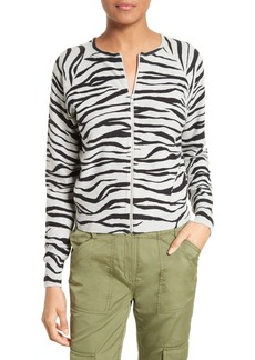 Tracy Reese Zebra Stripe Cotton Zip Front Cardigan