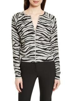 Tracy Reese Zebra Stripe Cotton Zip Front Cardigan
