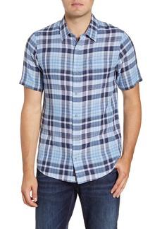 Travis Mathew Pure Mirth Regular Fit Plaid Short Sleeve Button-Up Sport Shirt