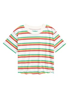 Treasure & Bond Kids' Stripe Raw Hem T-Shirt (Big Girl)