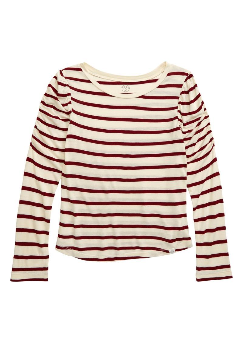 Treasure & Bond Ruched Sleeve T-Shirt (Big Girls)