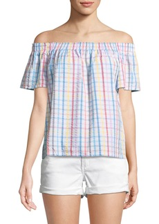 Trina Turk Abilla Off-the-Shoulder Plaid Top
